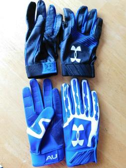 2 Pair~ New Under Armour Youth L Batting Gloves Blue/Black,