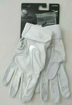 Nike Alpha Huarache Elite Batting Gloves White/Chrome Men's