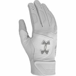 UNDER ARMOUR BATTING GLOVES-UA EPIC-WHT/GRAY-SMALL -LEATHER-