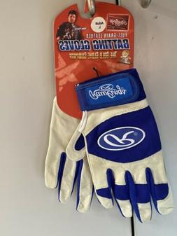 Blue Rawlings Full-Grain Leather Baseball Batting Gloves BRA