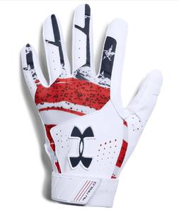 Under Armour Clean Up Baseball Batting Gloves, Adult Size M,