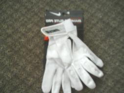Nike Diamond Elite Pro II Batting Gloves - White/White - Sma