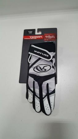 Rawlings Prodigy Adult Batting Gloves, Adult Small, Black Wh