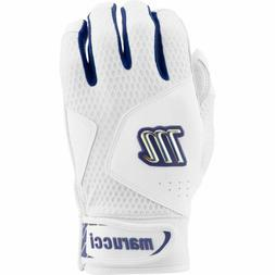 Marucci Quest 2.0 White/Navy Batting Gloves Size: Youth Larg