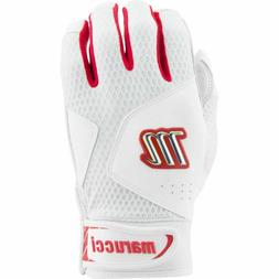 Marucci Quest 2.0 White/Red Batting Gloves Size: Youth Large