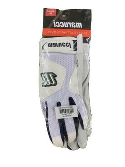 Marucci Quest Batting Gloves - White - Navy - Adult - Men