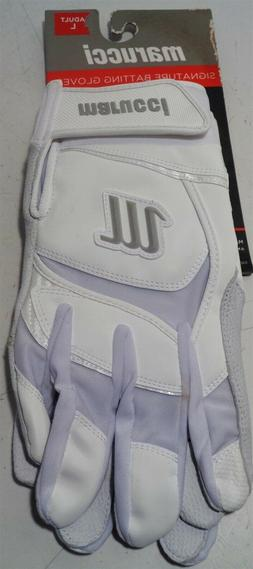 Marucci Signature Batting Gloves - White/White - L - MBGSGN-