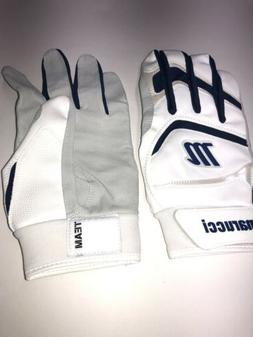 Marucci White/Navy Adult XL Batting Gloves